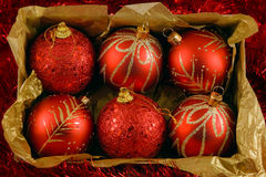 Boxed christmas balls Royalty Free Stock Image