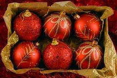 Boxed christmas balls Royalty Free Stock Image