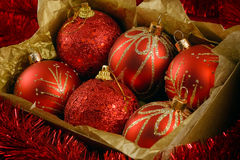 Boxed christmas balls Royalty Free Stock Photography