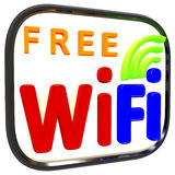 Boxed Free Wifi Internet Symbol Shows Connection Royalty Free Stock Photo