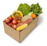 Box Fruit Vegetables Food. A cardboard box full of fruit and vegetables Stock Photos