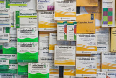 Boxed medication of different Polish companies. Stock Image
