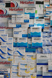 Boxed medication of different Polish companies. Stock Photo