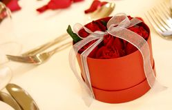 Boxed red roses 3. Romantic red boxed roses on a wedding table Stock Photos