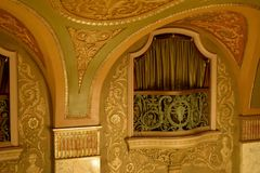 Boxed Seating. Luxury boxed seating at an ornately decorated theater royalty free stock image