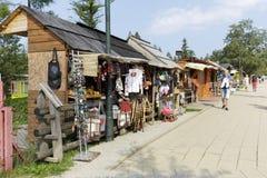 Boxen met diverse herinneringen in Zakopane Stock Afbeelding