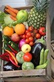 boxen Sie voll von den frischen Obst und Gemüse von vom Obst-und Gemüsehändler Lizenzfreies Stockbild
