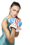 Boxende junge Frau Lizenzfreie Stockfotografie