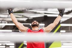 Boxende Victory Emotion Lizenzfreie Stockfotos
