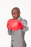 Boxeo afroamericano del hombre de negocios Fotografía de archivo libre de regalías
