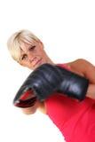 Boxeo atractivo de la sombra de la mujer Foto de archivo