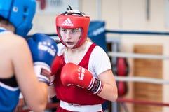 Boxeo de la competencia entre las muchachas Fotos de archivo libres de regalías