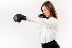 Boxeo de la empresaria fotografía de archivo libre de regalías