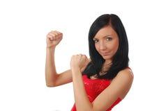 Boxeo de la muchacha del fitt de Aeribic Foto de archivo libre de regalías