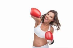 Boxeo de la mujer. Fotografía de archivo