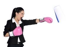 Boxeo de la mujer de negocios Foto de archivo libre de regalías