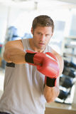 Boxeo del hombre en la gimnasia Fotos de archivo
