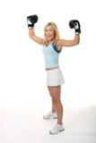 Boxeo femenino rubio imagen de archivo libre de regalías