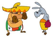Boxeo mexicano con el burro ilustración del vector