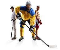 Boxeo multi del béisbol del hockey sobre hielo del collage de los deportes aislado en blanco foto de archivo libre de regalías