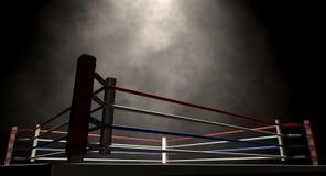 Boxeo Ring Spotlit Dark Imagen de archivo libre de regalías