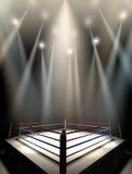 Boxeo Ring Spotlit Dark Foto de archivo libre de regalías
