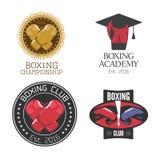 Boxeo, sistema de los iconos del vector, logotipo, símbolo, emblema, muestras del club de la caja Fotografía de archivo libre de regalías