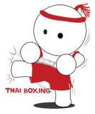 Boxeo y retroceso tailandeses de la historieta Foto de archivo libre de regalías