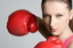 Boxer. Beautiful young female boxer woman Stock Photos