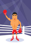 Boxer. Vector scene boxer on boxing ring Stock Image