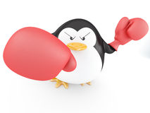 Boxer. Fat boxer penguin  with gloves- 3D render Royalty Free Stock Photography