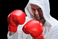 A boxer. Isolated on a black background royalty free stock photography