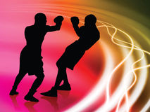 Boxer on Abstract Liquid Wave Background Royalty Free Stock Photo