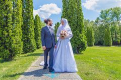 Algerian and Canadian Marriage. A boxer from Algeria and a member of Canadian Armed Forces get married in Canada Royalty Free Stock Photography