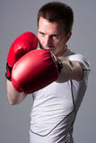 Boxer in attack position Royalty Free Stock Photo