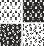 Boxer Avatar Aligned & Random Seamless Pattern Set Stock Photos