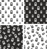Boxer Avatar Big & Small Aligned & Random Seamless Pattern Set Royalty Free Stock Photos