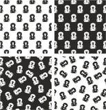 Boxer-Avatara-freihändig ausgerichteter u. gelegentlicher nahtloser Muster-Satz Stockfotografie