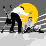 Boxer being countied out Royalty Free Stock Photo