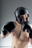 Boxer with black gloves Stock Photo