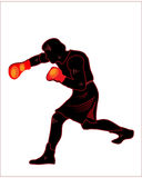 Boxer,black silhuette. On the white background Royalty Free Stock Photo