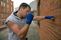 Boxer in blue bandage Royalty Free Stock Image