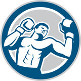Boxer Boxing Boxing Circle Retro Royalty Free Stock Image