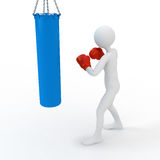 Boxer boxing with punching bag Royalty Free Stock Photo