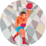 Boxer Boxing Punching Circle Low Polygon Stock Photo