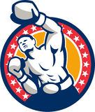 Boxer Boxing Punching Jabbing Retro Royalty Free Stock Photography