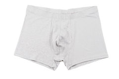 Boxer briefs isolated on a white. Grey men's Boxer briefs isolated on a white background Royalty Free Stock Image