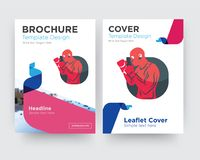 Boxer brochure flyer design template. With abstract photo background, minimalist trend business corporate roll up or annual report Stock Photo