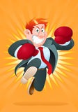 Boxer businessman. Illustration of a boxer businessman ready to fight in boxing championship Royalty Free Stock Photo