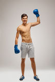 Boxer celebrate victory. Champion boxing Royalty Free Stock Photos